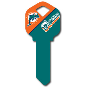 Kwikset NFL Key - Miami Dolphins - NFL house keys are a great way to show team spirit while keeping keys organized.  keys can be cut to fit your home or office at the local hardware store or locksmith.  Style pre-fix FQK can be cut to fit Kwikset keys (reference pre-fix FSK for Schlage key). Officially licensed NFL product Licensee: Siskiyou Buckle .com