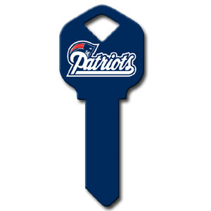 Kwikset NFL Key - New England Patriots - NFL house keys are a great way to show team spirit while keeping keys organized.  keys can be cut to fit your home or office at the local hardware store or locksmith.  Style pre-fix FQK can be cut to fit Kwikset keys (reference pre-fix FSK for Schlage key). Officially licensed NFL product Licensee: Siskiyou Buckle Thank you for visiting CrazedOutSports.com
