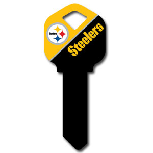 Kwikset NFL Key - Pittsburgh Steelers - NFL house keys are a great way to show team spirit while keeping keys organized.  keys can be cut to fit your home or office at the local hardware store or locksmith.  Style pre-fix FQK can be cut to fit Kwikset keys (reference pre-fix FSK for Schlage key). Officially licensed NFL product Licensee: Siskiyou Buckle Thank you for visiting CrazedOutSports.com