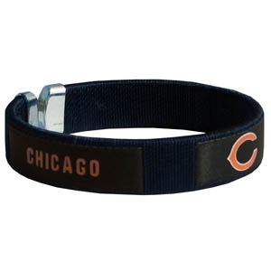 Chicago Bears Fan Band Bracelet - Our NFL Chicago Bears fan band is a one size fits all string cuff bracelets with a screen printed ribbon with the Chicago Bears name and Chicago Bears logo. Officially licensed NFL product Licensee: Siskiyou Buckle .com