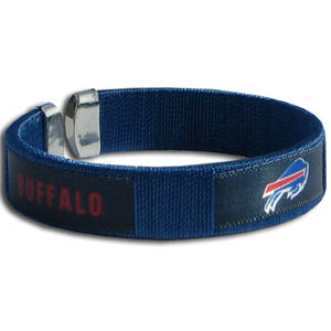 Buffalo Bills Fan Band Bracelet - Our NFL Buffalo Bills fan band is a one size fits all string cuff bracelets with a screen printed ribbon with the Buffalo Bills name and Buffalo Bills logo. Officially licensed NFL product Licensee: Siskiyou Buckle .com