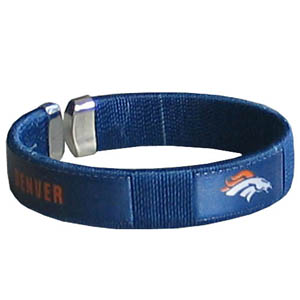 Denver Broncos Fan Band Bracelet - Our NFL Denver Broncos fan band is a one size fits all string cuff bracelets with a screen printed ribbon with the Denver Broncos name and Denver Broncos logo. Officially licensed NFL product Licensee: Siskiyou Buckle Thank you for visiting CrazedOutSports.com