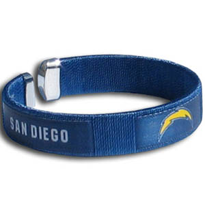 San Diego Chargers Fan Band Bracelet - Our NFL San Diego Chargers fan band is a one size fits all string cuff bracelets with a screen printed ribbon with the San Diego Chargers name and San Diego Chargers logo. Officially licensed NFL product Licensee: Siskiyou Buckle .com