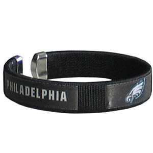 Philadelphia Eagles Fan Band Bracelet - Our NFL Philadelphia Eagles fan band is a one size fits all string cuff bracelets with a screen printed ribbon with the Philadelphia Eagles name and Philadelphia Eagles logo. Officially licensed NFL product Licensee: Siskiyou Buckle .com