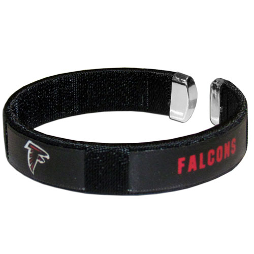 Atlanta Falcons Fan Band Bracelet - Our NFL Atlanta Falcons fan band is a one size fits all string cuff bracelets with a screen printed ribbon with the Atlanta Falcons name and Atlanta Falcons logo. Officially licensed NFL product Licensee: Siskiyou Buckle .com