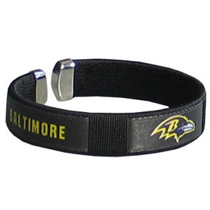 Baltimore Ravens Fan Band Bracelet - Our NFL Baltimore Ravens fan band is a one size fits all string cuff bracelets with a Baltimore Ravens screen printed ribbon with the Baltimore Ravens name and Baltimore Ravens logo. Officially licensed NFL product Licensee: Siskiyou Buckle .com