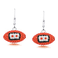 Cincinnati Bengals crystal football dangle earrings - Cincinnati Bengals crystal football dangle earrings feature Cincinnati Bengals colored Austrian crystals, football dimensions: 17mm, slightly smaller than a dime. Officially licensed.