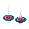 Buffalo Bills Crystal Football Dangle Earrings - Buffalo Bills crystal football dangle earrings feature Buffalo Bills colored Austrian crystals, football dimensions: 17mm, slightly smaller than a dime. Officially licensed.