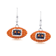 Denver Broncos crystal football dangle earrings - Denver Broncos crystal football dangle earrings feature Denver Broncos colored Austrian crystals, football dimensions: 17mm, slightly smaller than a dime. Officially licensed.