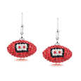 Tampa Bay Buccaneers crystal football dangle earrings - Tampa Bay Buccaneers crystal football dangle earrings feature Tampa Bay Buccaneers colored Austrian crystals, football dimensions: 17mm, slightly smaller than a dime. Officially licensed.