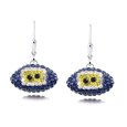 San Diego Chargers  - San Diego Chargers crystal football dangle earrings feature San Diego Chargers colored Austrian crystals, football dimensions: 17mm, slightly smaller than a dime. Officially licensed.