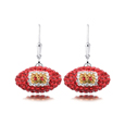Kansas City Chiefs crystal football dangle earrings - Kansas City Chiefs crystal football dangle earrings feature Kansas City Chiefs colored Austrian crystals, football dimensions: 17mm, slightly smaller than a dime. Officially licensed.