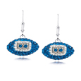 Indianapolis Colts crystal football dangle earrings - Indianapolis Colts crystal football dangle earrings feature Indianapolis Colts colored Austrian crystals, football dimensions: 17mm, slightly smaller than a dime. Officially licensed.