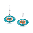 Miami Dolphins crystal football dangle earrings - Miami Dolphins crystal football dangle earrings feature Miami Dolphins colored Austrian crystals, football dimensions: 17mm, slightly smaller than a dime. Officially licensed.