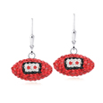 Atlanta Falcons crystal football dangle earrings - Atlanta Falcons crystal football dangle earrings feature Atlanta Falcons colored Austrian crystals, football dimensions: 17mm, slightly smaller than a dime. Officially licensed.