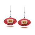 San Francisco 49ers crystal football dangle earrings - San Francisco 49ers crystal football dangle earrings feature San Francisco 49ers colored Austrian crystals, football dimensions: 17mm, slightly smaller than a dime. Officially licensed.