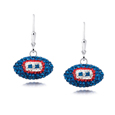 New York Giants crystal football dangle earrings - New York Giants crystal football dangle earrings feature New York Giants colored Austrian crystals, football dimensions: 17mm, slightly smaller than a dime. Officially licensed.