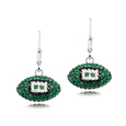 New York Jets crystal football dangle earrings - New York Jets crystal football dangle earrings feature New York Jets colored Austrian crystals, football dimensions: 17mm, slightly smaller than a dime. Officially licensed.