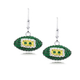 Green Bay Packers crystal football dangle earrings - Green Bay Packers crystal football dangle earrings feature Green Bay Packers colored Austrian crystals, football dimensions: 17mm, slightly smaller than a dime. Officially licensed.