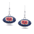 New England Patriots crystal football dangle earrings - New England Patriots crystal football dangle earrings feature New England Patriots colored Austrian crystals, football dimensions: 17mm, slightly smaller than a dime. Officially licensed.