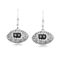 Oakland Raiders crystal football dangle earrings - Oakland Raiders crystal football dangle earrings feature Oakland Raiders colored Austrian crystals, football dimensions: 17mm, slightly smaller than a dime. Officially licensed.