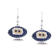 Los Angeles Rams crystal football dangle earrings - Los Angeles Rams crystal football dangle earrings feature Los Angeles Rams colored Austrian crystals, football dimensions: 17mm, slightly smaller than a dime. Officially licensed.