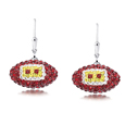 Washington Redskins crystal football dangle earrings - Washington Redskins crystal football dangle earrings feature Washington Redskins colored Austrian crystals, football dimensions: 17mm, slightly smaller than a dime. Officially licensed.