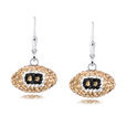 New Orleans Saints crystal football dangle earrings - New Orleans Saints crystal football dangle earrings feature New Orleans Saints colored Austrian crystals, football dimensions: 17mm, slightly smaller than a dime. Officially licensed.
