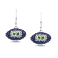 Seattle Seahawks crystal football dangle earrings - Seattle Seahawks crystal football dangle earrings feature Seattle Seahawks colored Austrian crystals, football dimensions: 17mm, slightly smaller than a dime. Officially licensed.