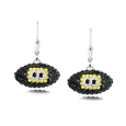 Pittsburgh Steelers crystal football dangle earrings - Pittsburgh Steelers crystal football dangle earrings feature Pittsburgh Steelers colored Austrian crystals, football dimensions: 17mm, slightly smaller than a dime. Officially licensed.