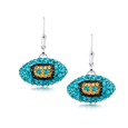 Jacksonville Jaguars crystal football dangle earrings - Jacksonville Jaguars crystal football dangle earrings feature Jacksonville Jaguars colored Austrian crystals, football dimensions: 17mm, slightly smaller than a dime. Officially licensed.