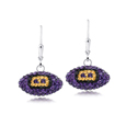 Baltimore Ravens crystal football dangle earrings - Baltimore Ravens crystal football dangle earrings feature Baltimore Ravens colored Austrian crystals, football dimensions: 17mm, slightly smaller than a dime. Officially licensed.