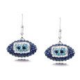 Tennessee Titans crystal football dangle earrings - Tennessee Titans crystal football dangle earrings feature Tennessee Titans colored Austrian crystals, football dimensions: 17mm, slightly smaller than a dime. Officially licensed.