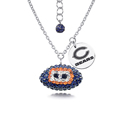 Chicago Bears Sterling Silver Necklace with Crystal Football Pendant - This Chicago Bears sterling silver necklace is a beautiful way to show off your love for the Chicago Bears. The 16 inch chain features a Chicago Bears crystal football Chicago Bears pendant and etched silver Chicago Bears pendant. Officially licensed NFL product Licensee: Siskiyou Buckle .com