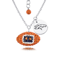Denver Broncos Sterling Silver Necklace with Crystal Football Pendant - This Denver Broncos sterling silver necklace is a beautiful way to show off your love for the Denver Broncos. The 16 inch chain features a Denver Broncos crystal football pendant and etched silver Denver Broncos pendant. Officially licensed NFL product Licensee: Siskiyou Buckle Thank you for visiting CrazedOutSports.com