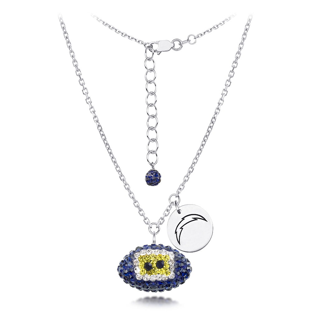 San Diego Chargers Sterling Silver Necklace with Crystal Football Pendant
