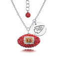 Kansas City Chiefs Sterling Silver Necklace with Crystal Football Pendant - This Kansas City Chiefs sterling silver necklace is a beautiful way to show off your love for the Kansas City Chiefs. The 16 inch chain features a Kansas City Chiefs crystal football pendant and etched silver Kansas City Chiefs pendant. Officially licensed NFL product Licensee: Siskiyou Buckle Thank you for visiting CrazedOutSports.com