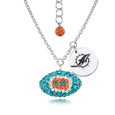 Miami Dolphins Silver Necklace w/Crystal Football - This Miami Dolphins sterling silver necklace is a beautiful way to show off your love for the Miami Dolphins. The 16 inch chain features a Miami Dolphins crystal football pendant and etched silver Miami Dolphins pendant. Officially licensed NFL product Licensee: Siskiyou Buckle .com