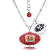 San Francisco 49ers Sterling Silver Necklace with Crystal Football Pendant - This San Francisco 49ers sterling silver necklace is a beautiful way to show off your love for the San Francisco 49ers. The 16 inch chain features a San Francisco 49ers crystal football pendant and etched silver San Francisco 49ers pendant. Officially licensed NFL product Licensee: Siskiyou Buckle .com