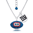 New York Giants Sterling Silver Necklace with Crystal Football Pendant - This New York Giants sterling silver necklace is a beautiful way to show off your love for the New York Giants. The 16 inch chain features a New York Giants crystal football pendant and etched silver New York Giants pendant. Officially licensed NFL product Licensee: Siskiyou Buckle .com