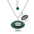 New York Jets Sterling Silver Necklace with Crystal Football Pendant - This New York Jets sterling silver necklace is a beautiful way to show off your love for the New York Jets. The 16 inch chain features a New York Jets crystal football pendant and etched silver New York Jets pendant. Officially licensed NFL product Licensee: Siskiyou Buckle Thank you for visiting CrazedOutSports.com