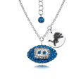 Detroit Lions Sterling Silver Necklace with Crystal Football Pendant - This Detroit Lions sterling silver necklace is a beautiful way to show off your love for the Detroit Lions. The 16 inch chain features a Detroit Lions crystal football pendant and etched silver Detroit Lions pendant. Officially licensed NFL product Licensee: Siskiyou Buckle .com