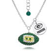 Green Bay Packers Sterling Silver Necklace with Crystal Football Pendant - This Green Bay Packers sterling silver necklace is a beautiful way to show off your love for the Green Bay Packers. The 16 inch chain features a Green Bay Packers crystal football pendant and etched silver Green Bay Packers pendant. Officially licensed NFL product Licensee: Siskiyou Buckle Thank you for visiting CrazedOutSports.com