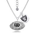Oakland Raiders Sterling Silver Necklace with Crystal Football Pendant - This Oakland Raiders sterling silver necklace is a beautiful way to show off your love for the Oakland Raiders. The 16 inch chain features a Oakland Raiders crystal football pendant and etched silver Oakland Raiders pendant. Officially licensed NFL product Licensee: Siskiyou Buckle Thank you for visiting CrazedOutSports.com