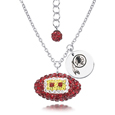 Washington Redskins Sterling Silver Necklace with Crystal Football Pendant - This Washington Redskins sterling silver necklace is a beautiful way to show off your love for the Washington Redskins. The 16 inch chain features a Washington Redskins crystal football pendant and etched silver Washington Redskins pendant. Officially licensed NFL product Licensee: Siskiyou Buckle Thank you for visiting CrazedOutSports.com