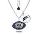 Seattle Seahawks Sterling Silver Necklace with Crystal Football Pendant - This Seattle Seahawks sterling silver necklace is a beautiful way to show off your love for the Seattle Seahawks. The 16 inch chain features a Seattle Seahawks crystal football pendant and etched silver Seattle Seahawks pendant. Officially licensed NFL product Licensee: Siskiyou Buckle .com