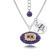 Minnesota Vikings Sterling Silver Necklace with Crystal Football Pendant - This Minnesota Vikings sterling silver necklace is a beautiful way to show off your love for the Minnesota Vikings. The 16 inch chain features a Minnesota Vikings crystal football pendant and etched silver Minnesota Vikings pendant. Officially licensed NFL product Licensee: Siskiyou Buckle .com