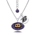 Baltimore Ravens Sterling Silver Necklace with Crystal Football Pendant - This Baltimore Ravens sterling silver necklace is a beautiful way to show off your love for the Baltimore Ravens. The 16 inch chain features a Baltimore Ravens crystal football pendant and etched silver Baltimore Ravens pendant. Officially licensed NFL product Licensee: Siskiyou Buckle Thank you for visiting CrazedOutSports.com