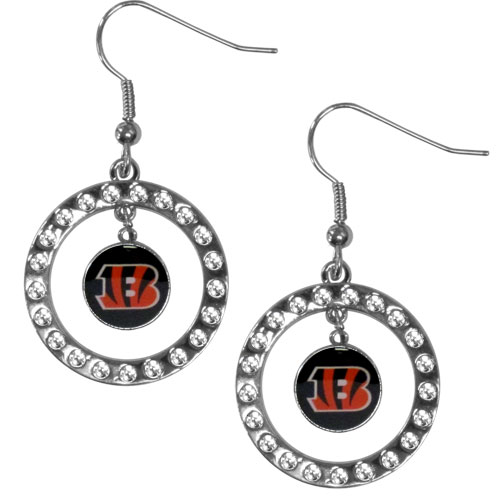 Cincinnati Bengals Rhinestone Hoop Earrings - Our officially licensed NFL rhinestone hoop earrings comes on an hypo-allergenic fishhook posts  and features a hoop covered in rhinestones with a high polish chrome finish and a Cincinnati Bengals logo dangling in the center. Officially licensed NFL product Licensee: Siskiyou Buckle .com
