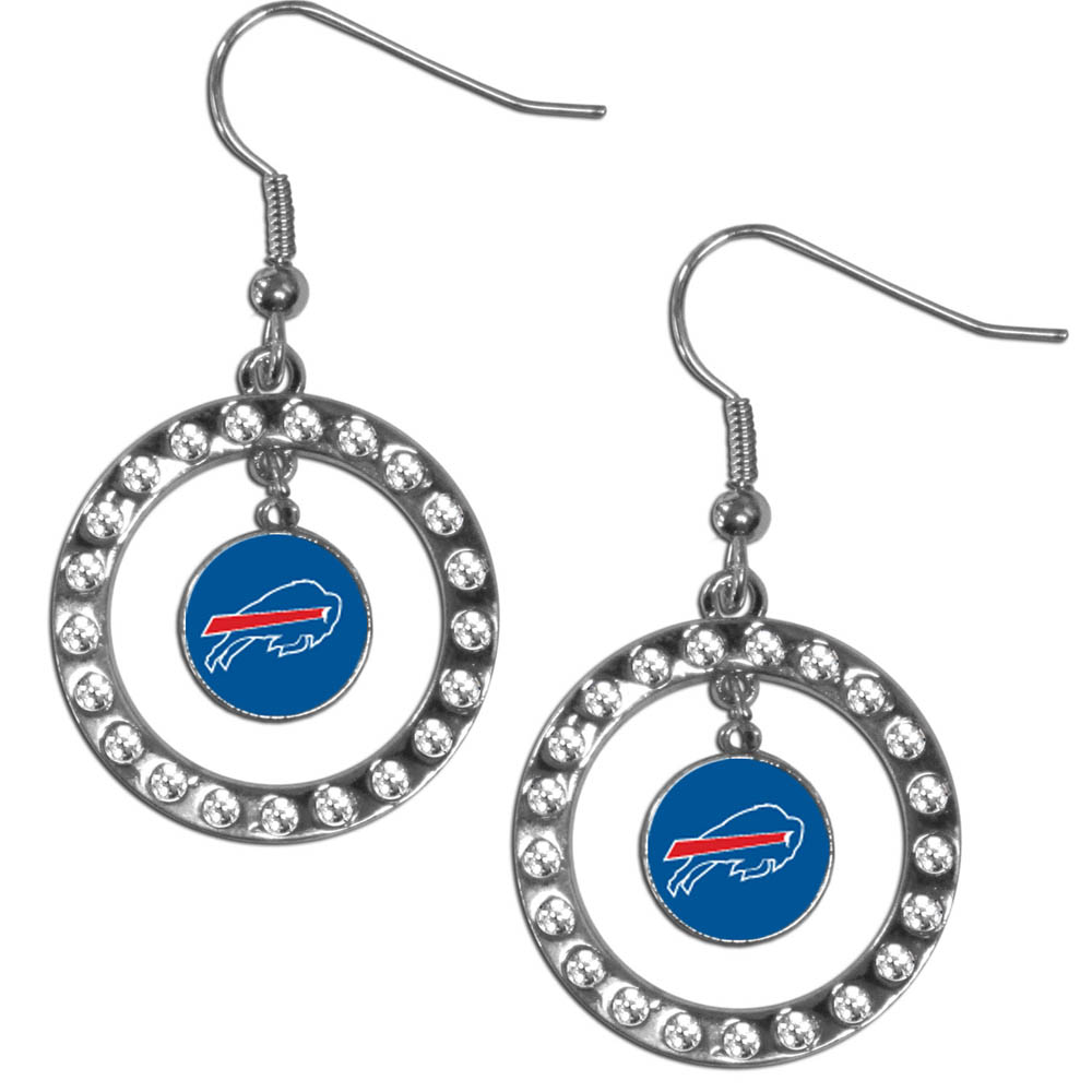 Buffalo Bills Rhinestone Hoop Earrings - Our officially licensed rhinestone hoop earrings comes on an hypo-allergenic fishhook posts  and features a hoop covered in rhinestones with a high polish chrome finish and a Buffalo Bills logo dangling in the center.